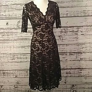 Cabi XS midi lace overlay dress nude liner